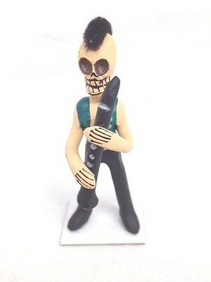 "Day Ofthe Dead Skeleton Figure - Musician With ""mohawk"" Playing Clarinet- Mexico"