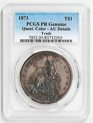 1873 Trade Dollar PCGS AU Details PR Genuine Quest. Color - NICE FOR GRADE!!