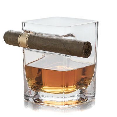 Whiskey Glass Cup With Cigar Holder Groove Rack Kitchen Bar Wine Drinking Mug