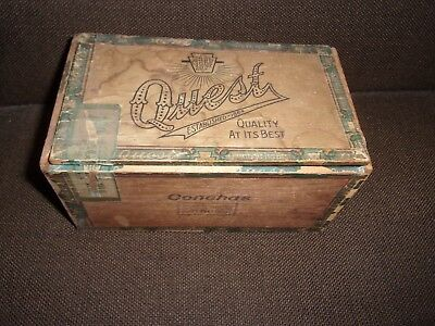 Vintage Antique Quest Wooden Cigar Box 100 count size conohas