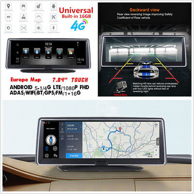 """4G ADAS Full Touch IPS Car Vehicle 7.84""""HD Android 5.1 WIFI Video Recorder BT FM"""