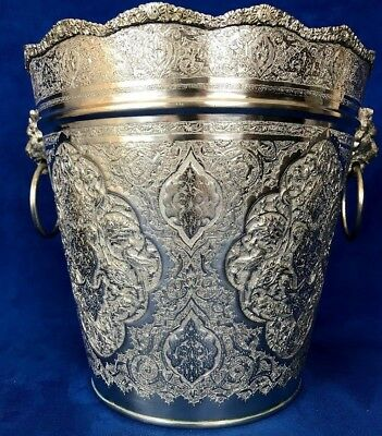84 Silver Persian, Middle East, Arabic Chased Ice Bucket With Lion Head Handle
