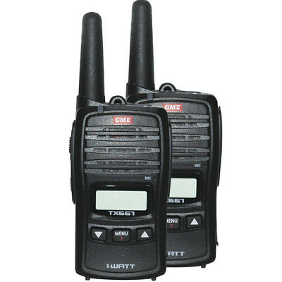 Gme Tx667 1W Uhf 80 Channel Handheld Twin Pack Radios+Rechargeable Batts+Charger