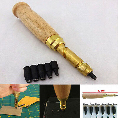 6 in1 Automatic Hole Punch Cutter Book Drill for Sewing Leather Fiber Tool new.