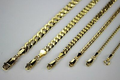 """10K Yellow Gold 2mm~7.2mm Curb Cuban Chain Link Pendant Necklace 16""""~30"""""""