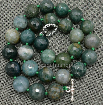 "Pretty 12mm Faceted Round Indian Agate Necklac 18 ""Tibetan Silver Love Clasps"