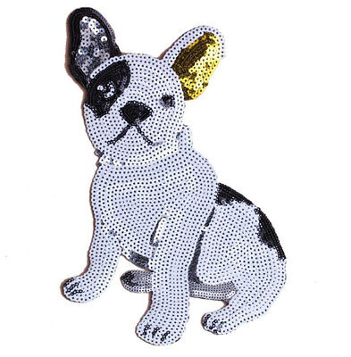 Sequins Dog DIY Embroidered Sew Iron On Patch Badge Bag Clothes Dress Applique