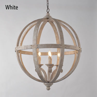 Rustic Wooden Globe Chandelier Ceiling Light & 4 Vintage Candle-Style Light Bulb
