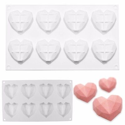 8 Grids Diamond Love Heart Dessert Cake Mold Art Mousse Silicone Chocolate Mould