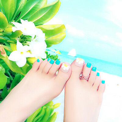 24Pcs foot false nail tips cute flower fake toes nails with glue toe nail art LU