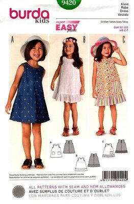 Burda Sewing Pattern 9420 Burda Kids Dress Sizes 2-7