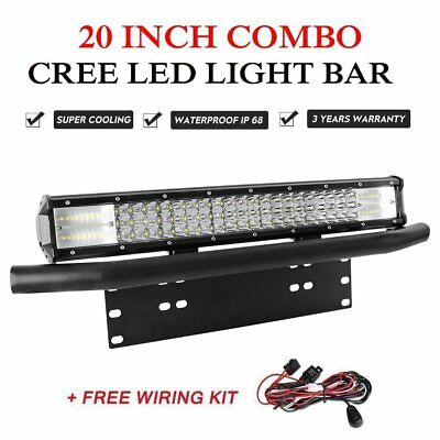 "20 inch Triple Row COMBO LED Work Light Bar + 23"" Number Plate Frame Bracket 4x4"