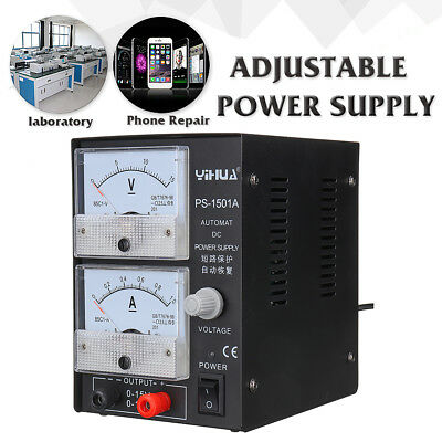 YIHUA Adjustable DC Power Supply Regulated Lab Phone Repair 15V 1A 110V