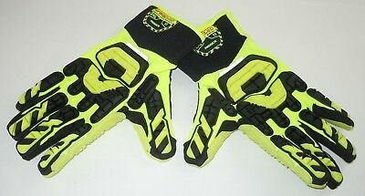 Ironclad Industrial Impact Rigger Gloves 2XL Yellow Black Grip Safety Vibram