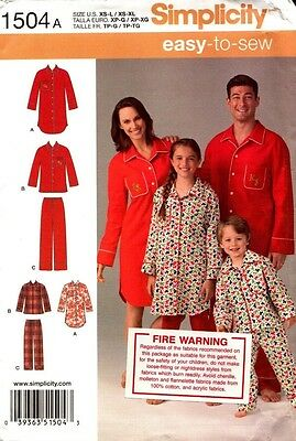 Simplicity Sewing Pattern 1504 Child's Teen's and Adult's Shirts and Pants NEW