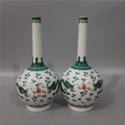 A Pair Fine Chinese Antique Famille Rose Porcelain Two Ear Dragon Vase