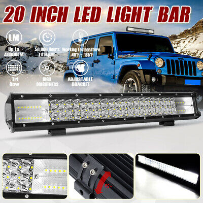 20 inch Tri-row CREE LED Light Bar Spot Flood Combo Driving Offroad Truck 4WD