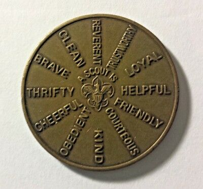 Vintage BOY SCOUTS of AMERICA BSA Bronze Oath Law Qualities Challenge Coin 1970s