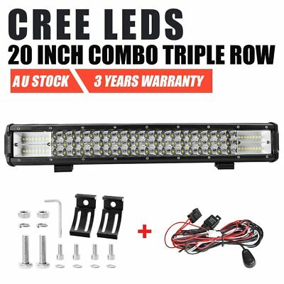 20 inch CREE Triple Row LED Light Bar Spot Flood Offroad Driving Work 4x4 Truck