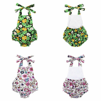 Baby Girls Floral Halter Jumpsuit Romper Summer Casual Playsuit Sunsuit Outfits
