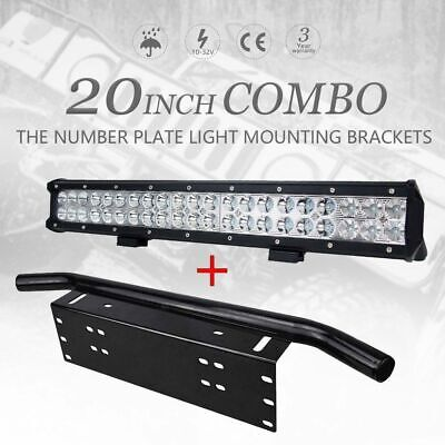 "20 inch CREE Spot Flood LED Light Bar + 23"" License Mount Number Plate Frame"