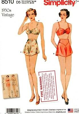 Simplicity Sewing Pattern 8510 Womens Vintage Bra Pants Underwear Sizes 12-20