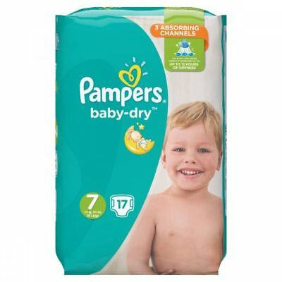 17 x Pampers Baby Dry Disposable Nappies, Size 7 15kg+ with 3 Absorbing Channels