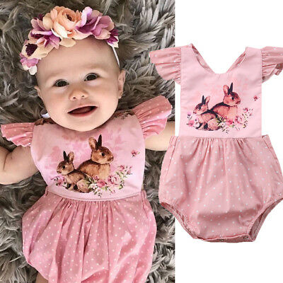 AU Baby Girl Animal Floral Bodysuit Outfit Romper Clothes Set size 3-18 Months