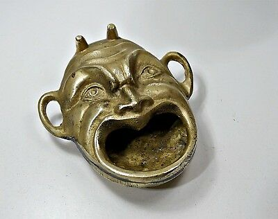 Antique Solid Brass Figural Devil Face Head Ashtray
