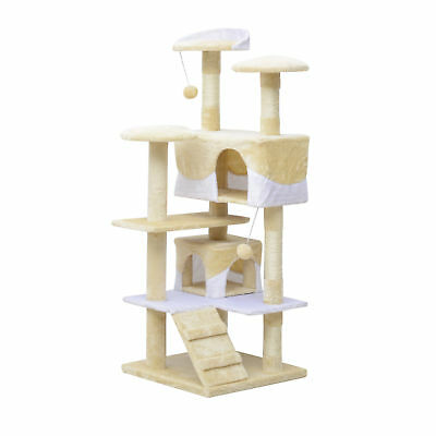 "52"" Cat Scratching Tree Kitten Play House Multi-Level Activity Center Beige"