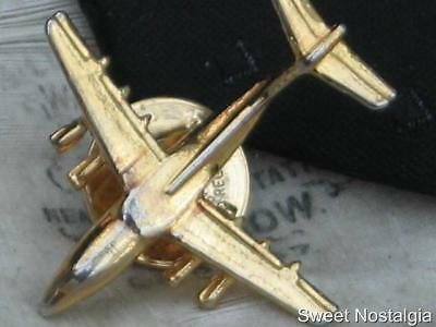 Lovely Vintage Gold Plated Aeroplane/jet Design Tie Tack,stud,tie Pin By Ballou