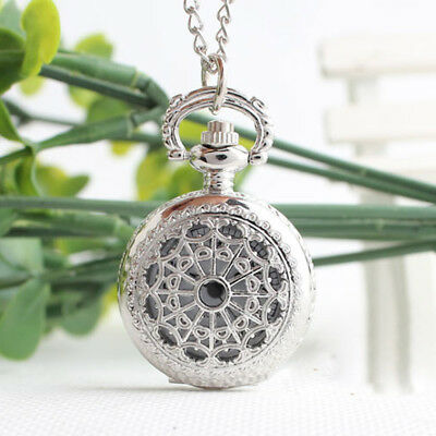 Antique Small Spider Web Quartz Necklace Pendant Chain Fob Pocket Watch Gifts