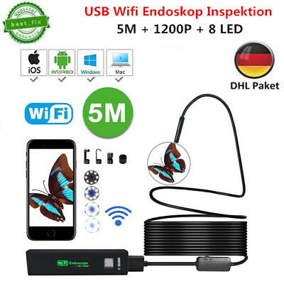 5m WiFi Endoskop Wasserdicht USB Endoscope Inspektion Kamera für IOS Android PC