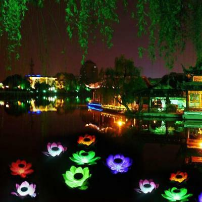 Solar Power LED Color Changing Lotus Flower Floating Lamp Home Garden Pool