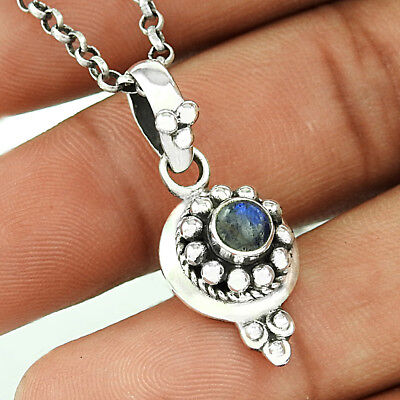 Pendant Rainbow Moonstone Charm For Birthday Gift 925 Sterling Silver Jewelry