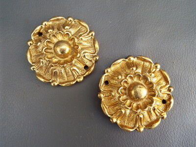 2 brass Grandfather Longcase clock case rosettes - New old stock - spares parts
