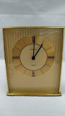 H.Samuel Made In Germany Vintage Carriage Quartz Desk Brass Mantel Clock