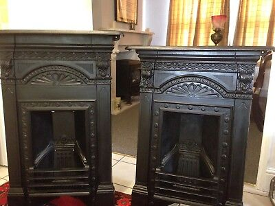 Pair Of Victorian Antique Cast Iron Fireplaces Original Reclaimed Architectural