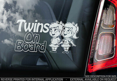 Twins on Board - Car Window Sticker - Sisters Girls Child Kids Baby Decal - V04