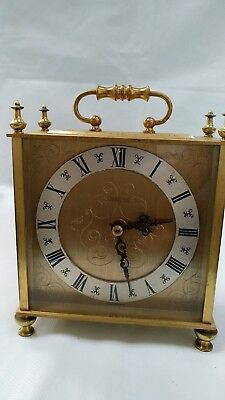 Vintage Eurastyle Quartz Brass Mantle Carriage Clock Western Germany Engaved