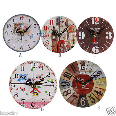 Creative Vintage Style Art Antique Wood Wall Clock for Home Kitchen Office FK
