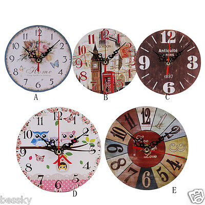 Vintage Style Non-Ticking Art Antique Wood Wall Clock for Home Kitchen Office FK
