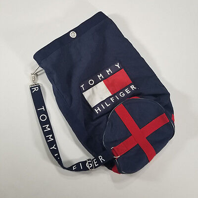 54dc00075b Vintage 90s TOMMY HILFIGER Cinch Bag Duffle Gym Navy SPELL OUT Strap   Flag  logo