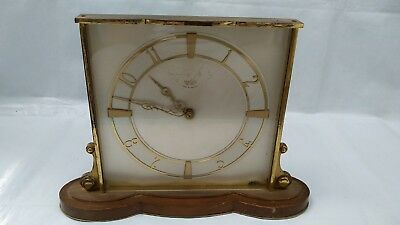 Vintage Art Deco Smiths SEC Electric Mantle Clock Brass Wooden Stand