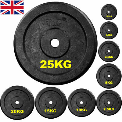"""Cast Iron Solid 1"""" Hole Weight Plates Weights Plate 4 Dumbbell Bars Bar Set Sets"""