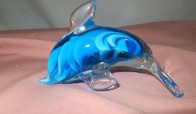 Small Blue & White Swirl Blown Glass Dolphin Figurine