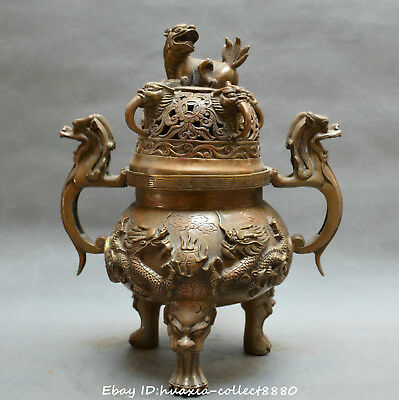 China fengshui old bronze two dragon play pearl lion beast censer incense burner