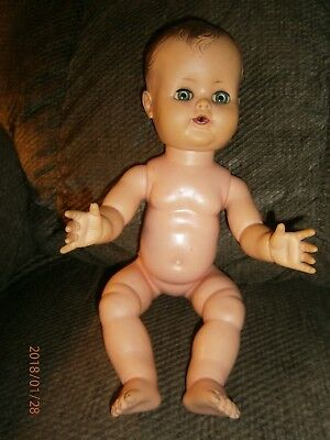 """Vintage Drink and Wet Baby Doll Rubber ALEXANDER 16"""" Doll Molded Hair"""