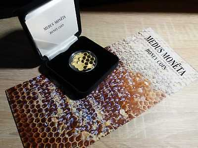 "Latvia 2018 silver coin gold plated 5 euro ""Honey coin"" beekeeper mintage 3000"