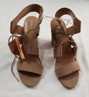 a1437a2520904 New Women s Merona Taupe Harriet Lace Up Heeled Quarter Strap Sandals Size  11